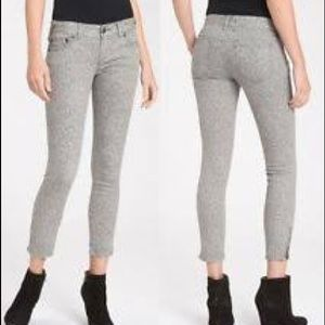 Free People Gray Lace Print Skinny crop jeans 29
